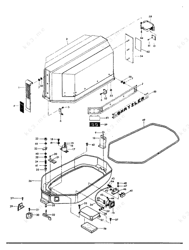 Chrysler 55 1974  Engine Cover And Support Plate