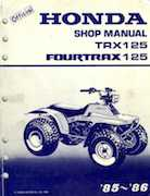 1985-1986 Honda Fourtrax 125 TRX125 Shop Manual