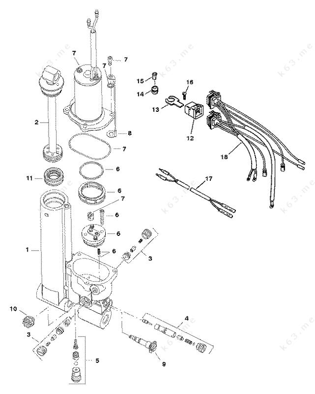 Mercury Force 50 H.P. 1996, Power Trim Assembly - parts ...